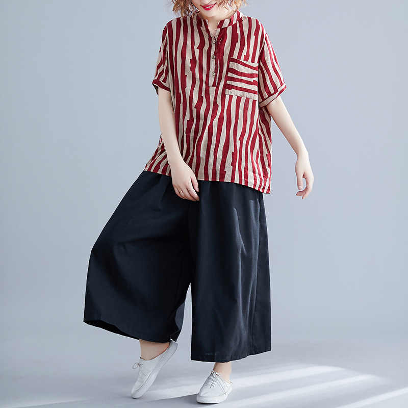 Johnature 2019 Casual Plus Sieze Two Pieces Sets Summer New Striped Short Sleeve Top Elastic Waist Wide Leg Pant Sets Women