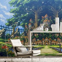 Free Shipping Green Tree European Lake Road Children S Room Living Room Lobby Wallpaper Restaurant Study