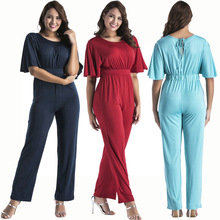 New popular European and American fashion personality color large size casual sexy ladies jumpsuit