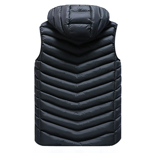 Image 4 - Winter Sleeveless Jacket Men Casual Down Vest Men Warm Thick Hooded Coats Male Cotton Pad Mens Work Waistcoat Gilet Homme L 4XL