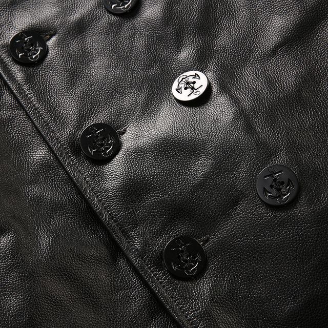 Read Description! Asian size mans winter genuine cow leather jacket men's classic cowhide leather pea coat NFS_1836