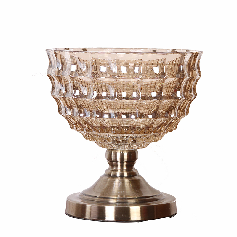 New classical High quality European Crystal glass metal fruit bowl candy dish dried fruit tray creative home tray decoration in Bowls Plates from Home Garden