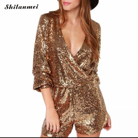 Golden Sequin Party Playsuit Long Sleeve Gold Romper Jumpsuits Women Fashion Short Rompers Deep V Neck Sexy Night Club Playsuits