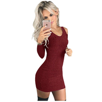 TFGS Women S New Spring Autumn Casual Bodycon Dresses O Neck Long Sleeve Off Shoulder Short