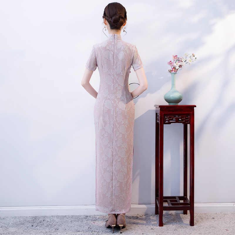 新到着カット花袍ロングハイスプリットレースチャイナドレスの女性の中国の伝統的なドレスサイズ ML XL XXL 3XL 4XL