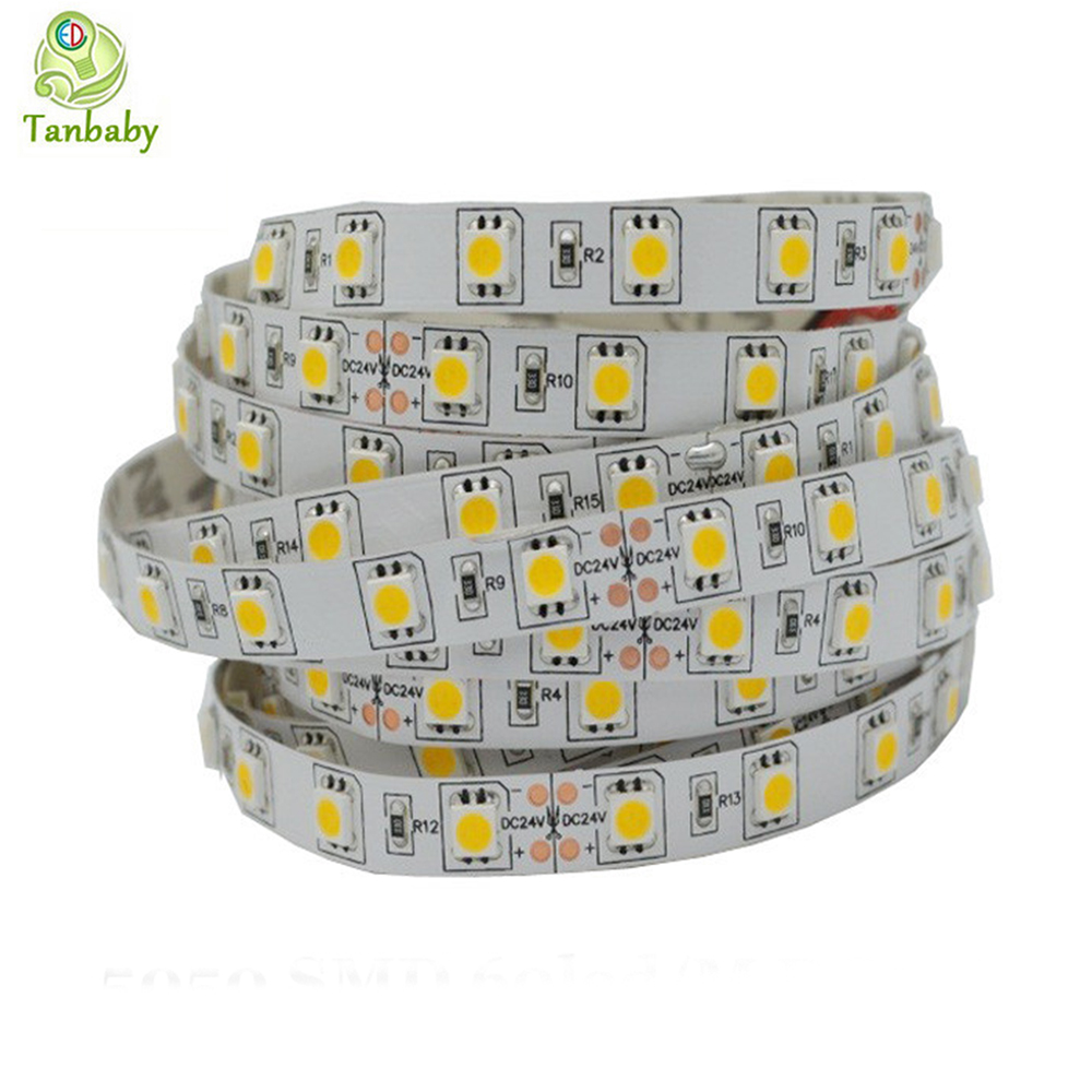 Tanbaby 5M 300led led strip light DC 24V 5050 SMD RGB strip LED flexible ribbon tape Non-waterproof decoartion lighting rope