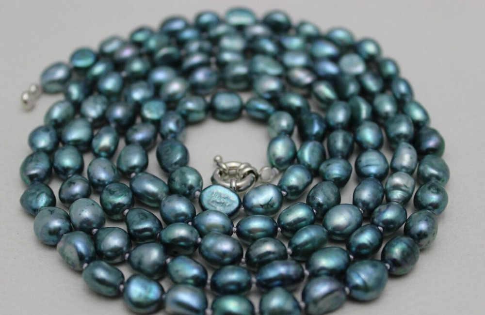 """AA 004856 süßwasser perle lange halskette Grüne-Blauen barock 8x10mm 48 """"Legierung"""" handmade"""""""