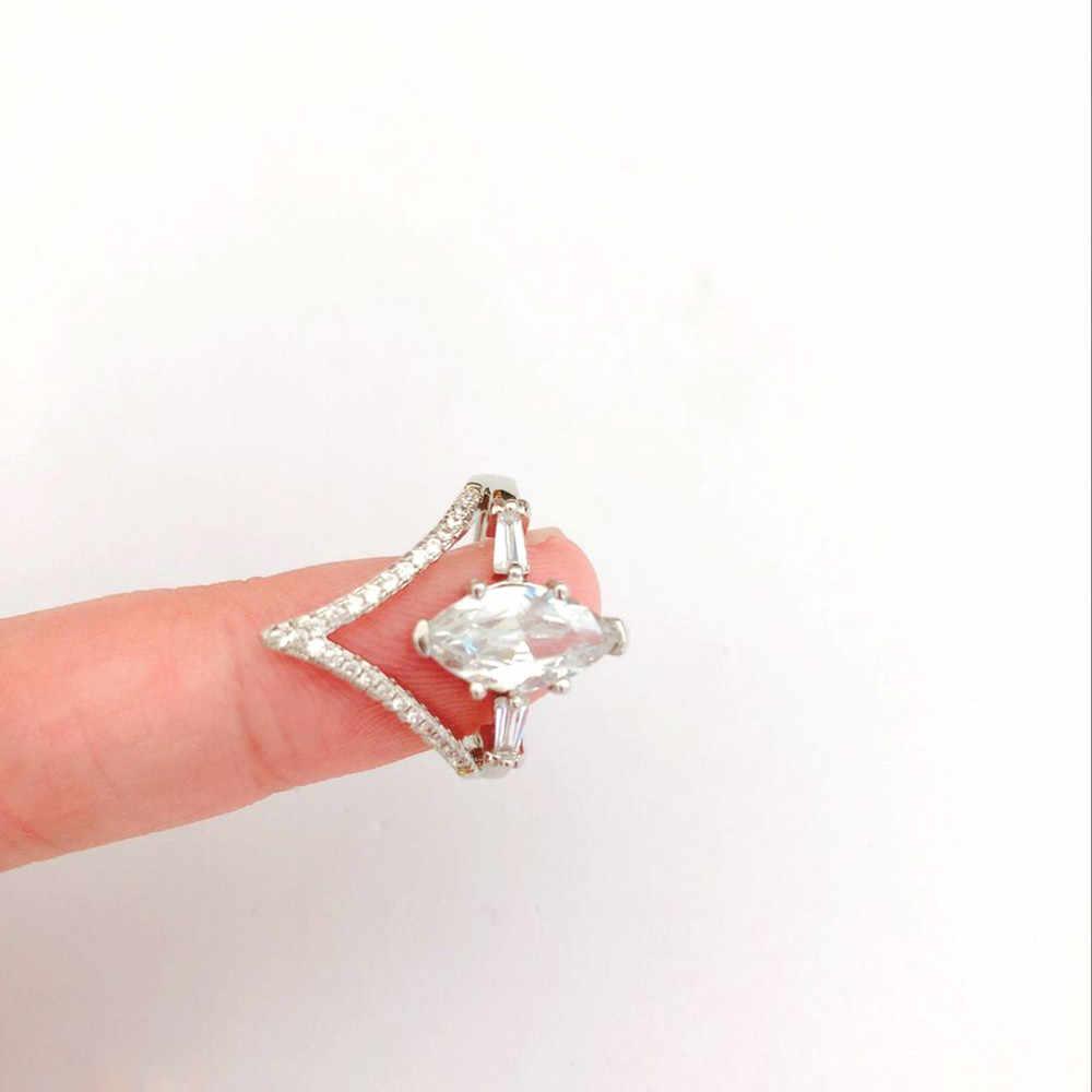 ขนาด 5 6 7 8 9 10 11 Charm แหวนสำหรับสุภาพสตรีสีขาวเงาโอปอล Zirconia ของขวัญเจ้าสาวเครื่องประดับ Mujer Anillos
