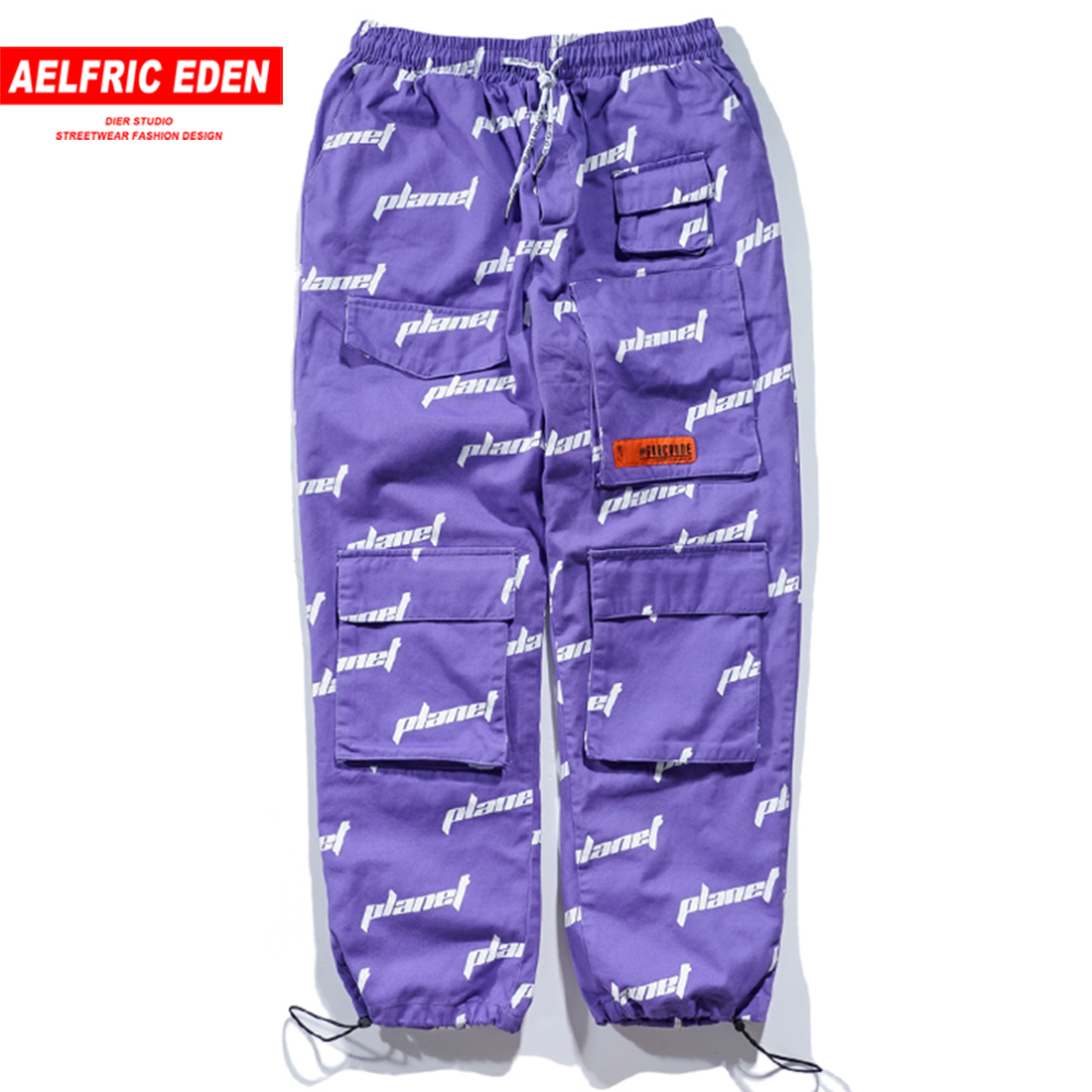 Aelfric Eden High Street 2018 Men's Pockets Decorative Lettter Streetwear Casual Baggy Pants Mens Hip Hop Harajuku Trousers B058