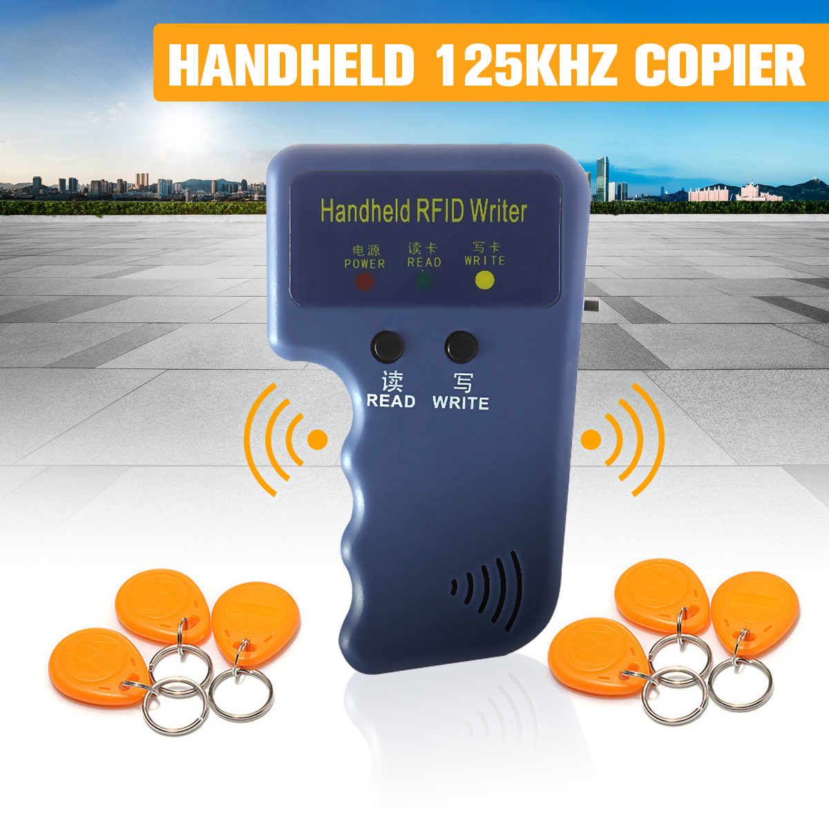 RFID Handheld 125KHz EM4100 ID Card Copier Writer Duplicator Programmer Reader+6Keys+6pcs Rewritable ID Keyfobs Tags CardsRFID Handheld 125KHz EM4100 ID Card Copier Writer Duplicator Programmer Reader+6Keys+6pcs Rewritable ID Keyfobs Tags Cards