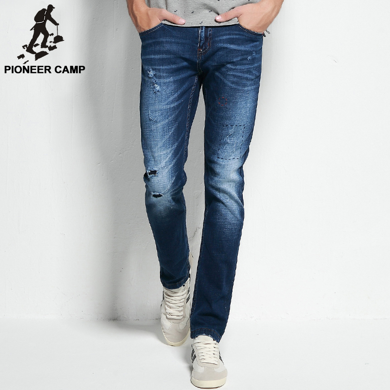 Pioneer Camp 2017 ripped jeans mens brand clothing fashion stretch denim pants top quality casual slim