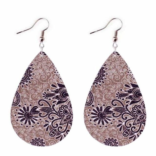 ZWPON 2018 New Cheaper PU Leather Arabesque Flower Earrings for Women Silver Leather Teardrop Paisley Earrings Jewelry Wholesale