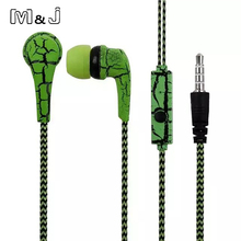 M&J Original Cell Phones Earphones Ice Cracks Design Earphone Earpiece with Microphone For iPhone Samsung MP3 MP4 PC