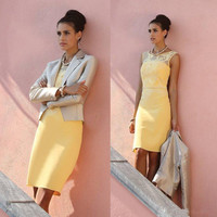 Yellow Lace Mother of Bride Dresses Short Formal Evening Party Dresses with Jacket Long Sleeves Plus Size Knee Length Custom