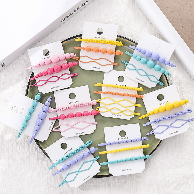 1SET Korea Resin Candy Color Geometric Irregular Hair Clips For Women Handmade Braided Plastic Beads Hair Accessories