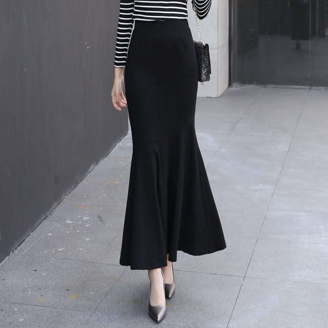 573aa27c6f Winter Long Skirt Women Black Maxi Skirt Autumn Solid Color Ankle Length Mermaid  Skirts OL Workwear Female 2327LY