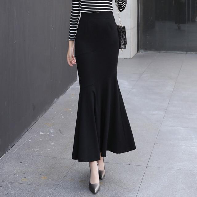 34b1ef4060 Winter Long Skirt Women Black Maxi Skirt Autumn Solid Color Ankle Length  Mermaid Skirts OL Workwear Female 2327LY