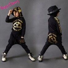 Счастливый вишня 4-9Y детей уличные танцы одежда мальчиков девушки уличной хип-хоп одежды дети свободного покроя толстовки шаровары Twinset