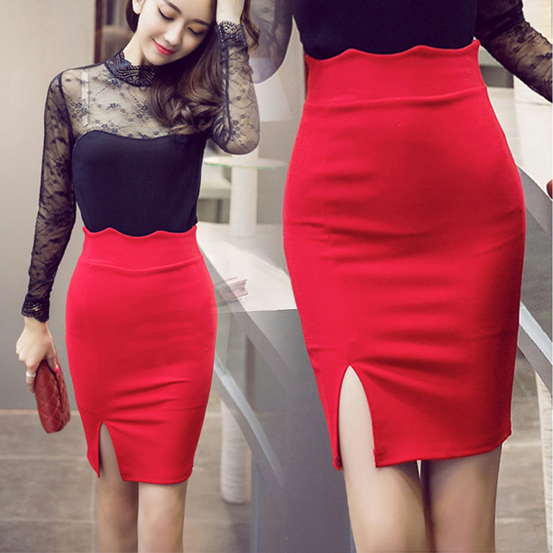 f965abb9bf TingYiLi High Waist Pencil Skirt Women Bodycon Tight Skirt Black Red Skirt  Short Skirt Female Sexy Mini Skirt Office Lady-in Skirts from Women's  Clothing on ...