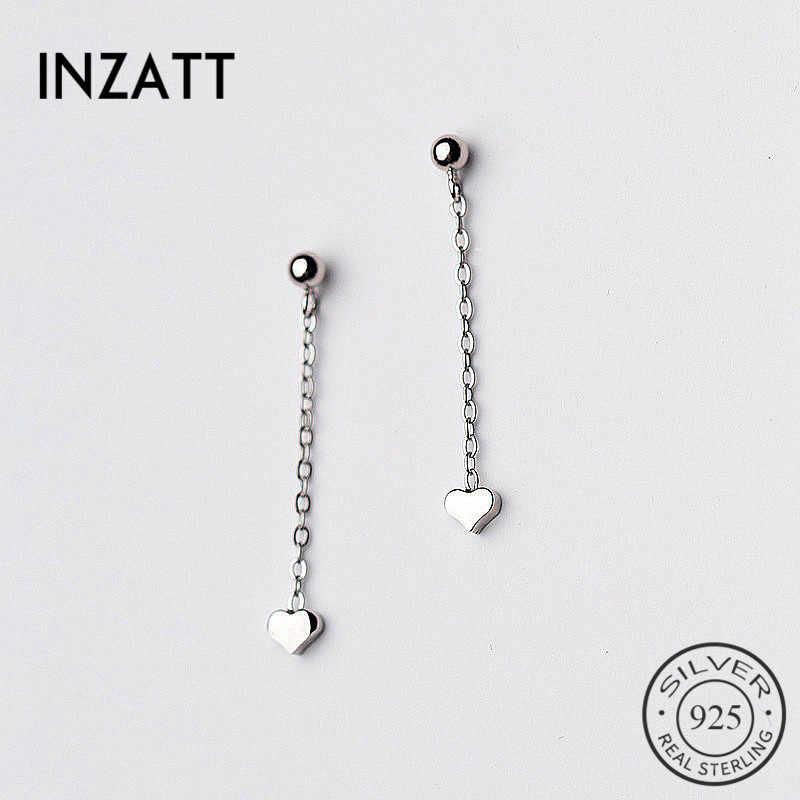 INZATT Minimalis Mengkilap Jantung Menjuntai Drop Earrings gaya Rantai Pendek rumbai Untuk Wanita hadiah Ulang Tahun 925 Sterling Perhiasan Perak