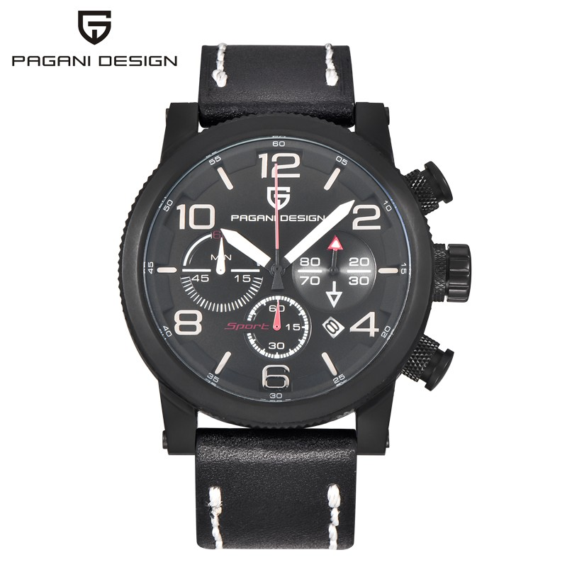 PAGANI DESIGN Sport Chronograph Mens Watches Top Brand Luxury Military Leather Strap Quartz Watch Men Clock Relogio Masculino watches men luxury brand top chronograph quartz watch pagani design men sport wristwatch military watch relogio masculino