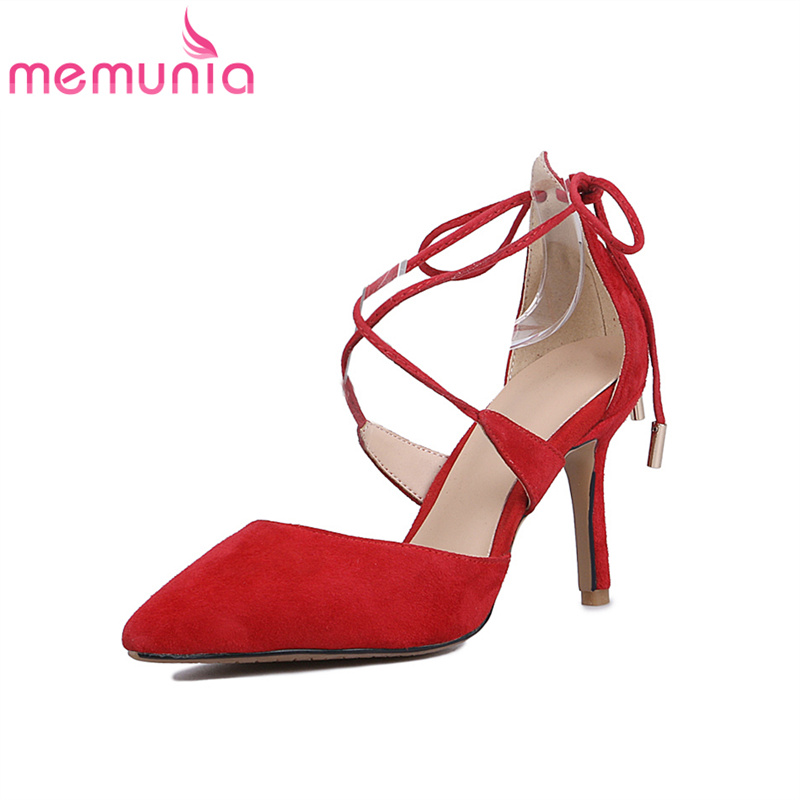 ФОТО MEMUNIA new arrive women pumps genuine leather fashion ankle strap pointed toe sexy stiletto high heels elegant comfortable