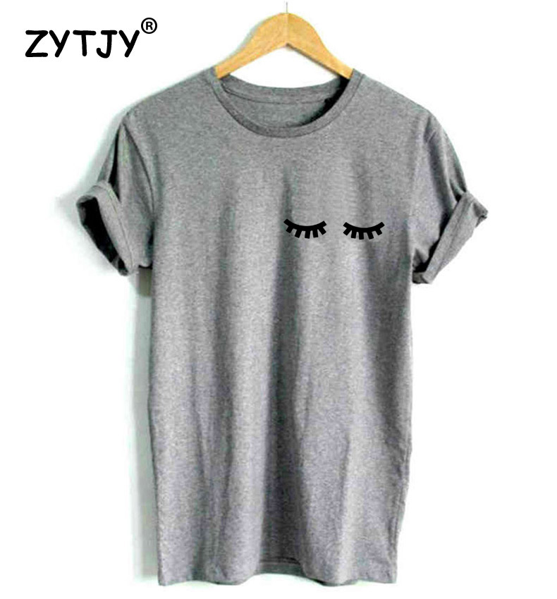 eyelash pocket print Women tshirts Cotton Casual Funny T Shirt For Lady Top Tee Hipster black white gray Drop Ship Z 275 in T Shirts from Women 39 s Clothing