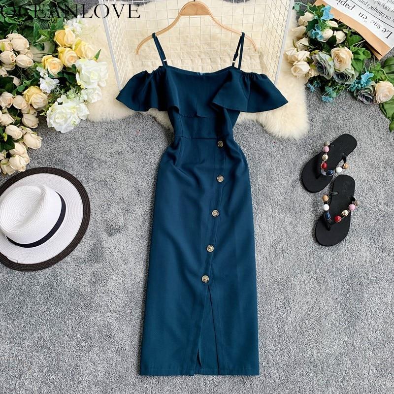 Платье для вечеринок OCEANLOVE, однотонное платье на кнопках с вырезом лодочкой и открытыми плечами, женское летнее платье 2020 с оборками, обтяги...