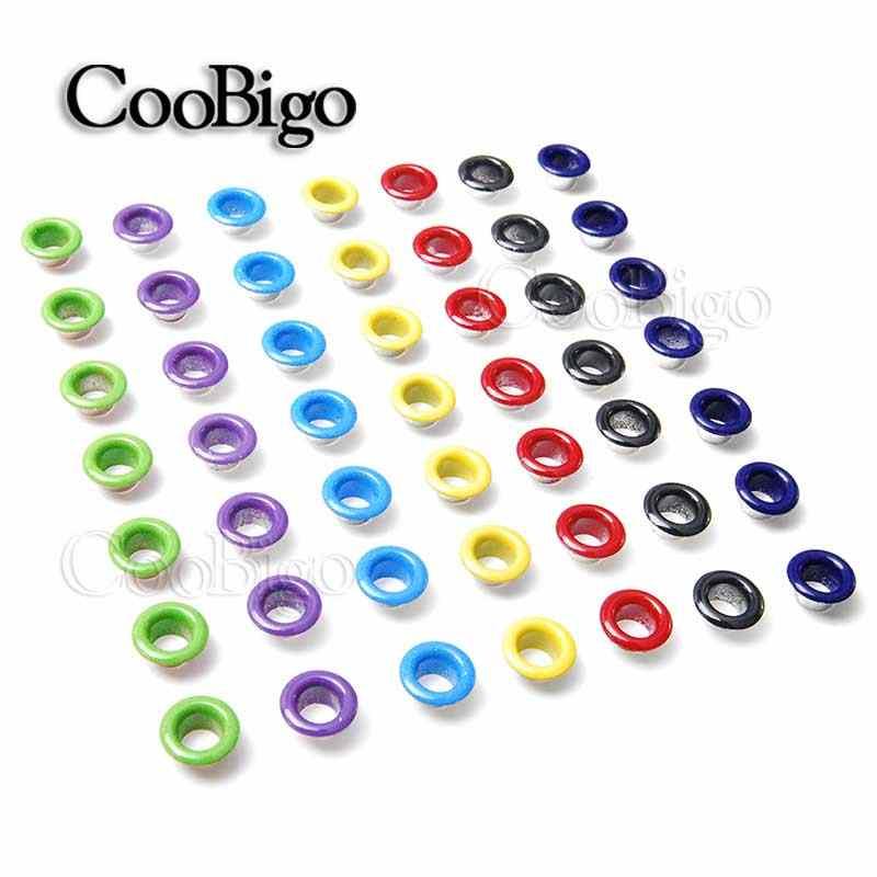 100 sztuk otwór 5mm metalowe mieszane kolor oczka dla Leathercraft DIY Scrapbooking pasek do butów Cap Bag tagi ubrania akcesoria mody