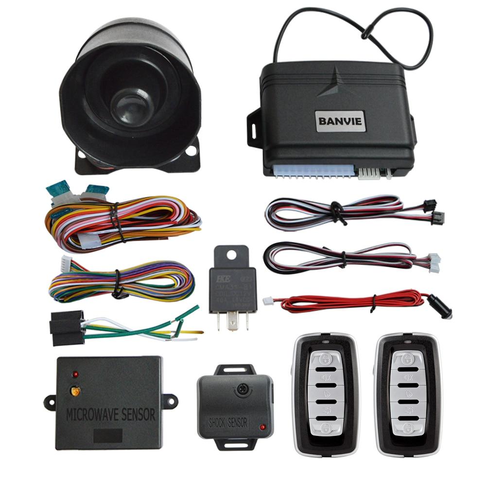 Système d'alarme de sécurité Auto BANVIE 1 voie avec verrouillage Central des portes sans clé et déverrouillage du coffre à distance