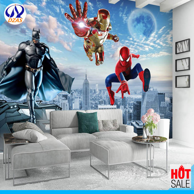 Us 1162 7 Offdzas 3d Spider Man Superman Wallpaper Bedroom Childrens Room Paradise Room Wallpaper Avengers Character Mural In Wallpapers From