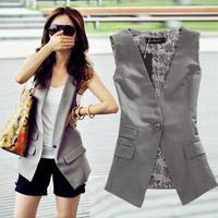 plus size loose Womens Vests new spring and autumn OL pocket long vest