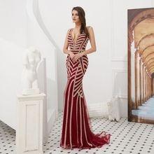 Vestido de noiva diamond evening dress sexy V neck mermaid prom 2019 graduation muslim Formal Dress  robe soriee