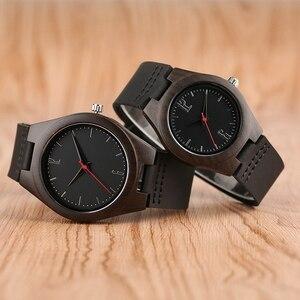 Image 2 - Liefhebbers Geschenken Luxe Royal Ebbenhout Horloge Mens Fashion Houten Vrouwen Jurk Klokken Mannelijke Lederen Valentijnsdag Relojes
