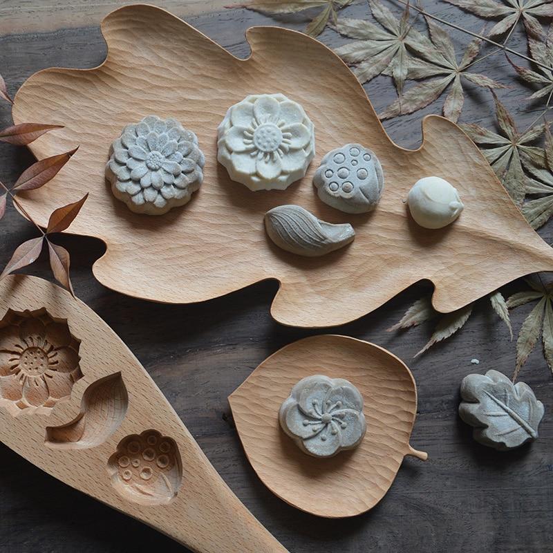 Originais Feitas À Mão Placa De Madeira Maple Leaves Estilo para Lanches/Bolo Placa Prato Criativo Bandeja de Armazenamento de Utensílios de Mesa de Madeira de Faia - 5