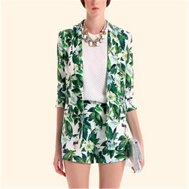 2016 Nova Mulheres Verde Floral Print Blazer de Manga Longa Slim Fit Outwears Casaco Feminino Estilo Europeu Outono Desgaste Do Escritório