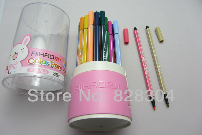 Free shipping baby started to learn brush 36PCS color inks can be washed in Highlighters from Office School Supplies
