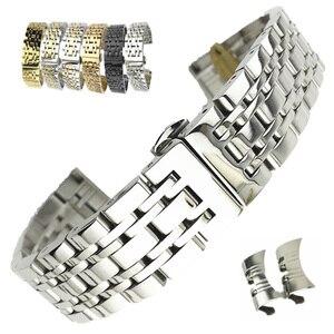 Image 1 - Universal Stainless Steel 7 Beads Watch Strap Watch Band 18mm 19mm 20mm 21mm 22mm 23mm 24mm Watchband for Samsung Galaxy Watch