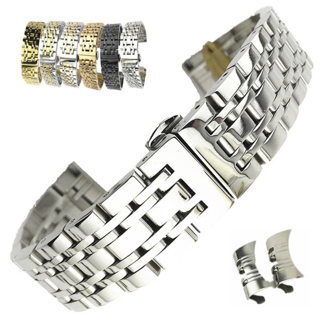 Universal Stainless Steel 7 Beads Watch Strap Watch Band 18mm 19mm 20mm 21mm 22mm 23mm 24mm Watchband for Samsung Galaxy Watch