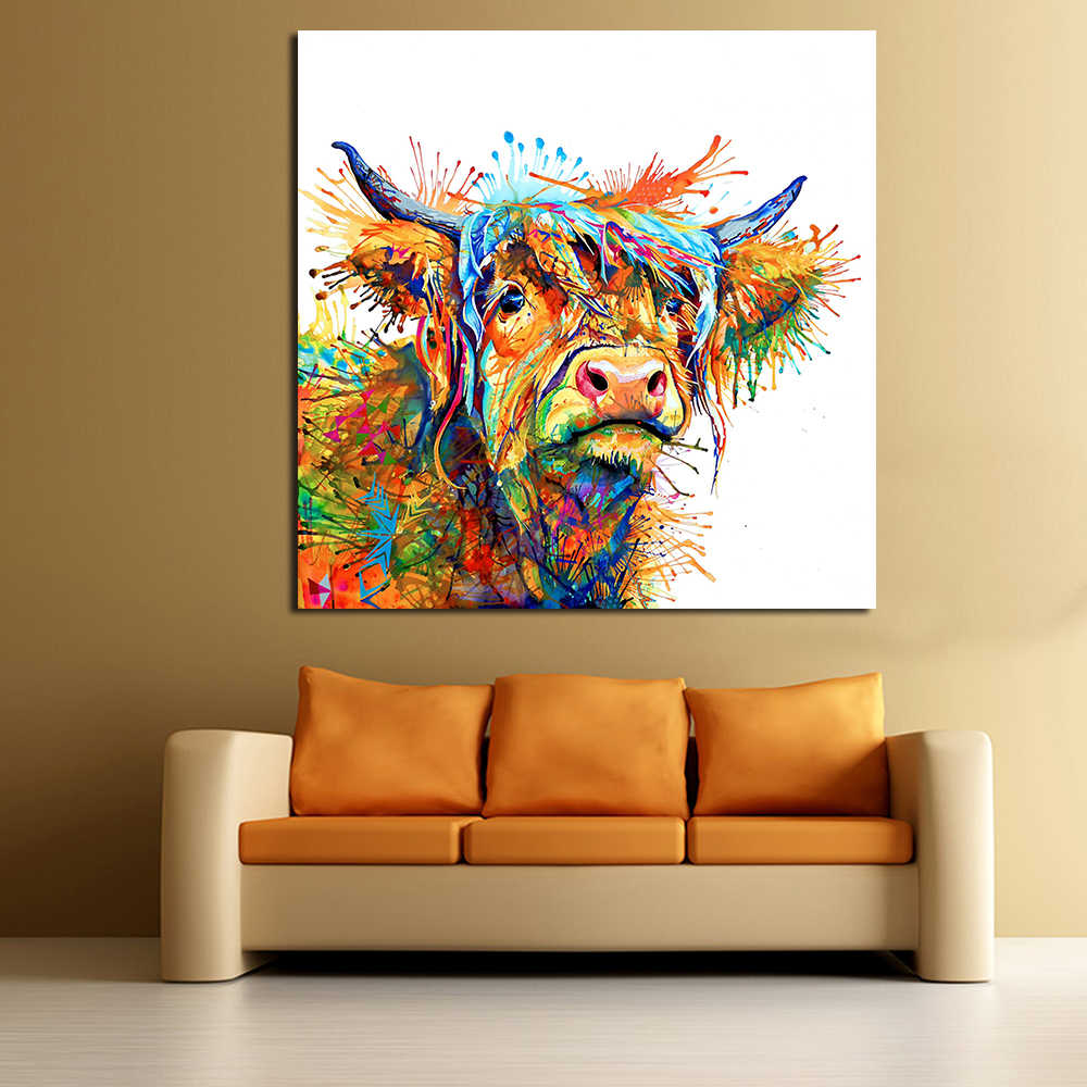 JQHYART Abstract Animal Painting Love To Play Cool Cow Home Decor Picture Wall Pictures For Living Room No Frame Canvas Art