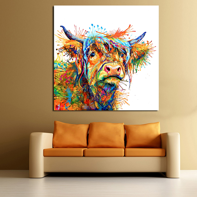 JQHYART Abstract Animal Painting Love To Play Cool Cow Home Decor Picture  Wall Pictures For Living