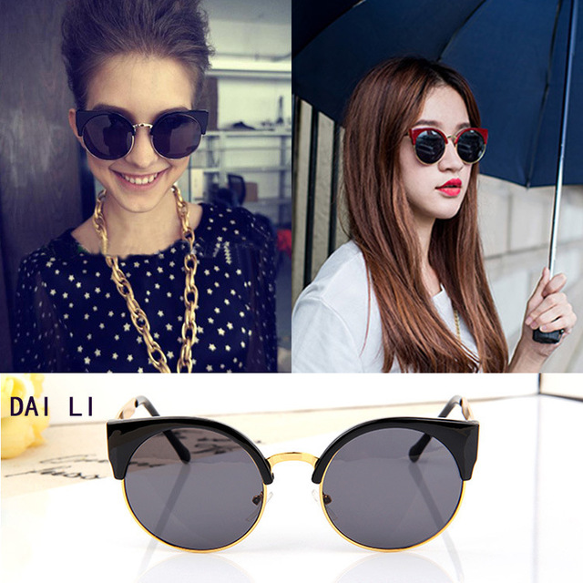 2a48be2ed85 2015 New Fashion Women Half Frame Cat Eye Style Sunglasses Vintage Classic  Design Cateye Sun Glasses
