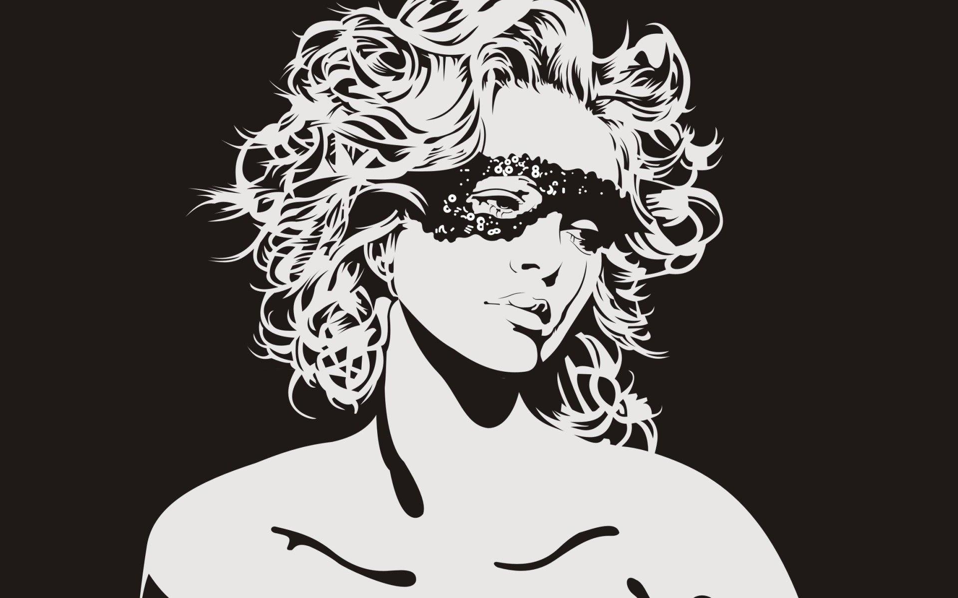 Девушка Маска вектор Монохромный черный белый гостиная Главная Wall Art декор деревянной раме ткань плакаты
