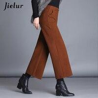 Jielur Pockets Loose Pants Winter 2018 New Fashion OL Woolen Gray Caramel Black Pants Female Warm S XXXL Plus Size Women's Capri