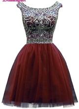 KapokBanyan Real Photo Appliques Lace Short Prom Dresses 2017 Scoop Neck Crystal Mini Party Dress Luxury Vestido de festa