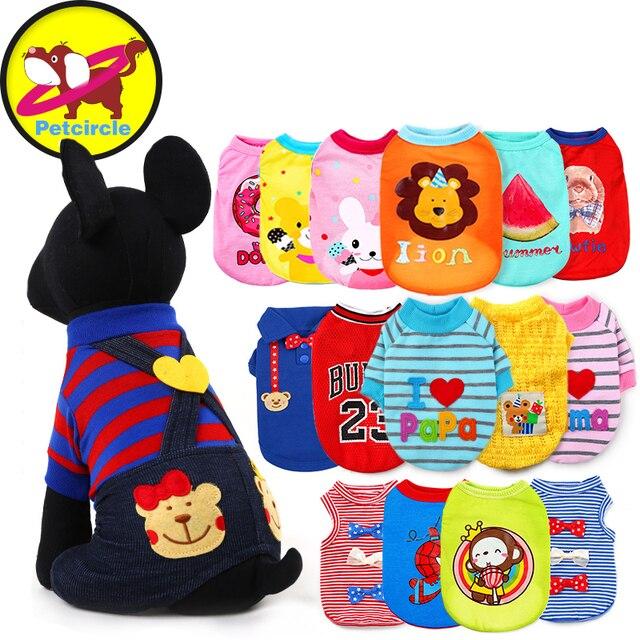 Petcircle Hot Sale Pet Dog Clothes Summer Cartoon Dog Vests for chihuahua Breathable Dog Shirts Summer 18 Colors Free shipping