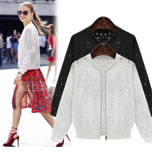 Women's 2018 Summer Long Sleeves Jacket Full Lace Short Sunscreen Thin Coat Hollow Out Female Jackets