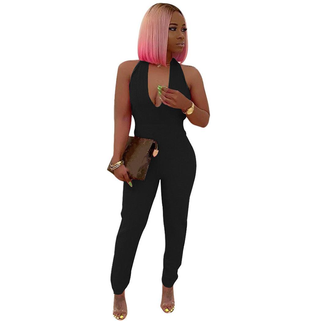 New Fashion Women Casual Halter Sleeveless Backless Regular fit, Solid Sexy Jumpsuit None Full Length(China)