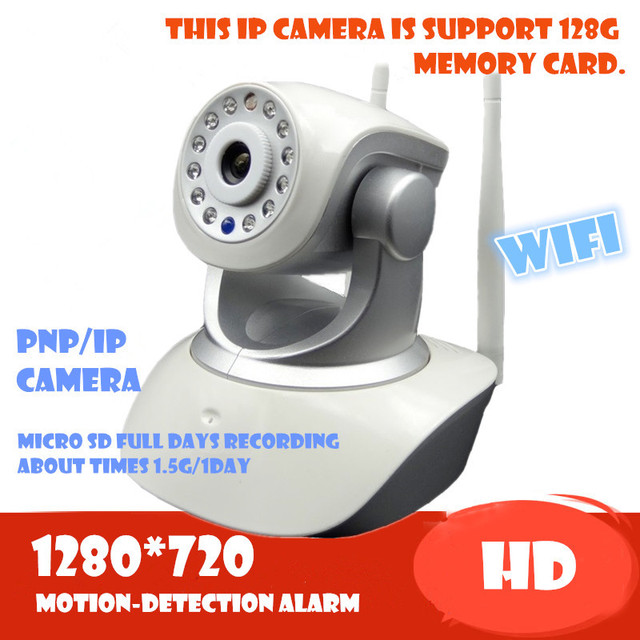 Wireless IP Camera 720P HD wifi memory sd card Audio Mega P2P Alarm Onvif FREE APP Network IR-CUT Night Vision Recording PTZ