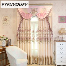 Polyester Europe Luxury Elegant Living Room Embroidery Curtain Blackout Curtains Floral Embroidered  Modern